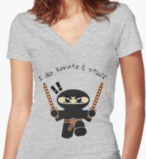 I do karate & stuff Women's Fitted V-Neck T-Shirt