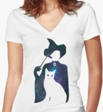 Minerva and Tabby Cat Fitted V-Neck T-Shirt