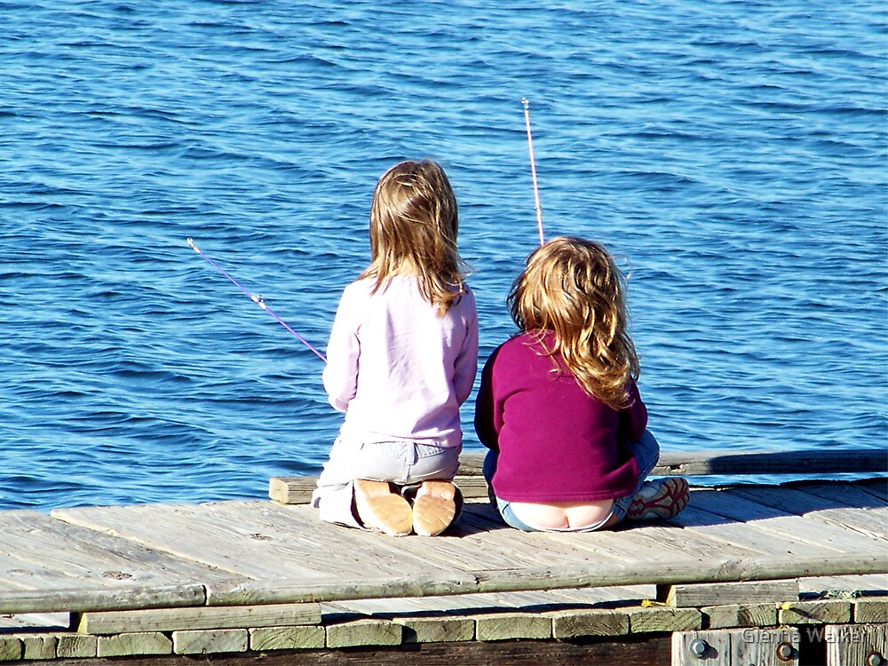 Little girls fishing by glenna walker redbubble for Little girl fishing pole