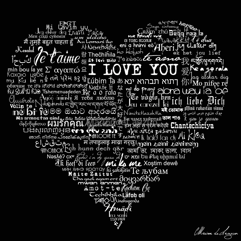 """Typographic multi language I love you heart"" by ..."