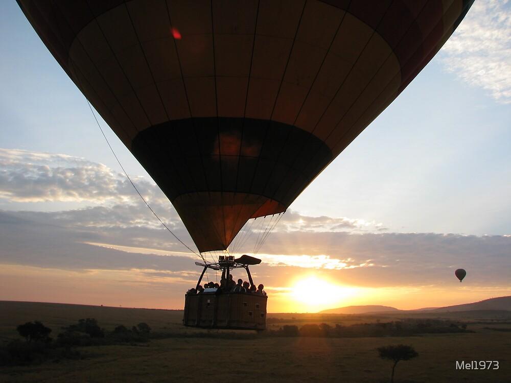 Ballon and sunrise over Masai Mara. by Mel1973