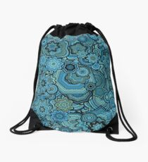 Generative Art Particle Flowers, Blue and Teal Drawstring Bag