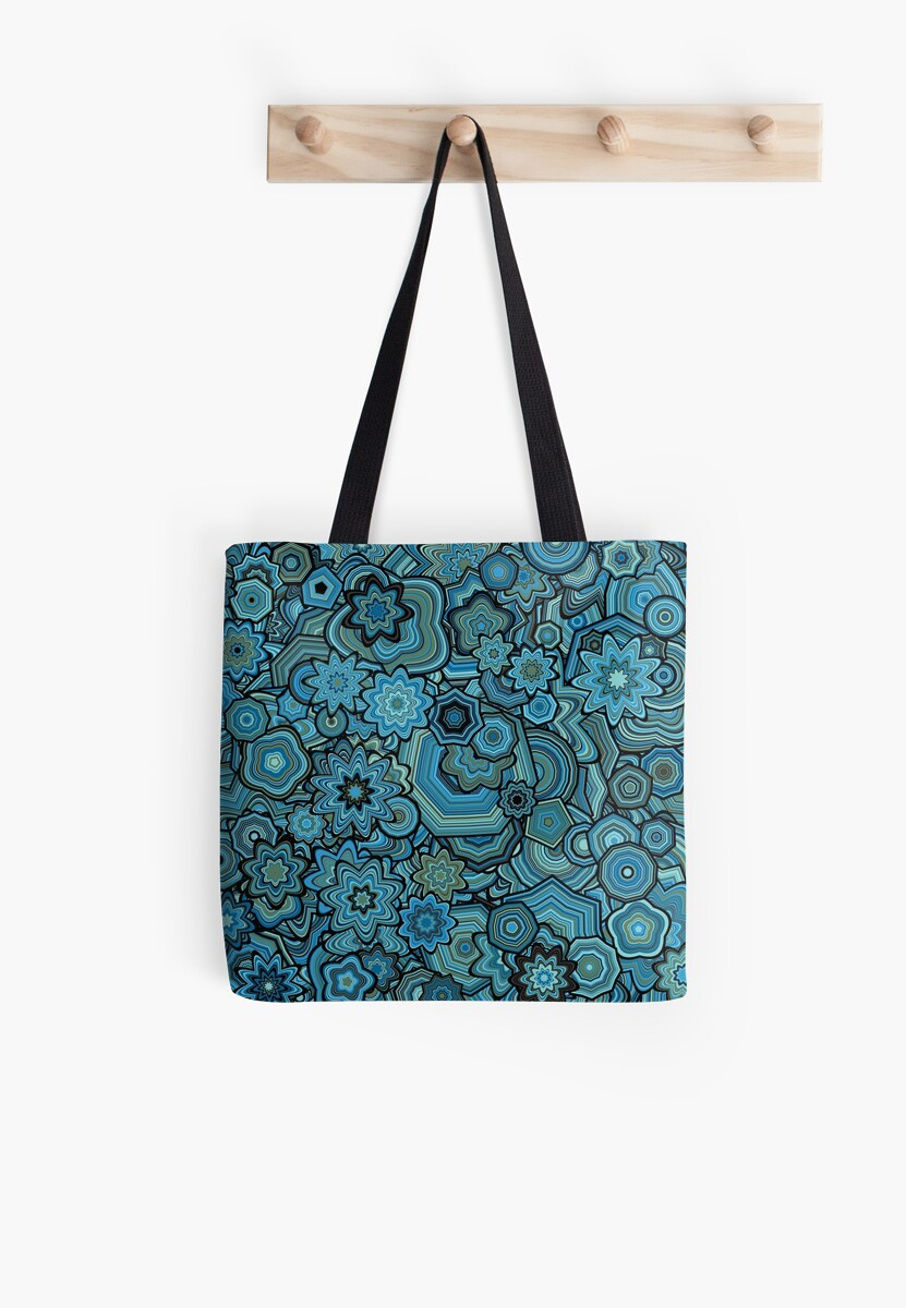 Generative Art Particle Flowers, Blue and Teal by KristinHenry