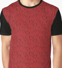 Black drawn hearts on red background. Graphic T-Shirt