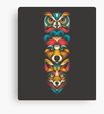 Forest Animals Totem Canvas Print