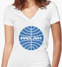 Pan Am Tshirt - Defunct Airline Company Logo - Airline Memorabilia - Retro Company Logo - Retro Tshirt Women's Fitted V-Neck T-Shirt