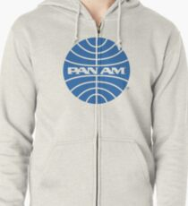 Pan Am Tshirt - Defunct Airline Company Logo - Airline Memorabilia - Retro Company Logo - Retro Tshirt Zipped Hoodie