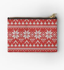 Knitted Christmas pattern in retro style pattern Studio Pouch