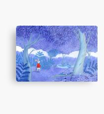 little mouse in a mysterious blue forest Metal Print