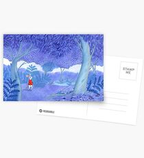little mouse in a mysterious blue forest Postcards