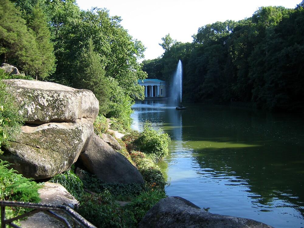Pond in old park by TarasKokovsky