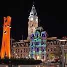 Giant Clothespins, City Hall and Christmas Lights  by Lanis Rossi