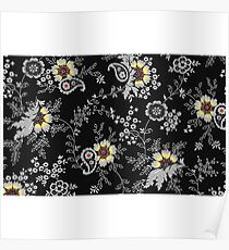 White And Black Floreal Pattern Poster