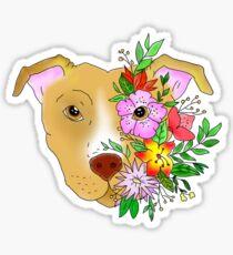 Flower Pitbull - Transparent background Sticker
