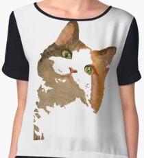 I'm All Ears - Cute Calico Cat Portrait Chiffon Top