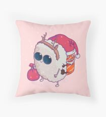 happy santa sushi Throw Pillow