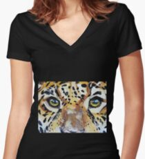 Visions of the Jaguar People Women's Fitted V-Neck T-Shirt