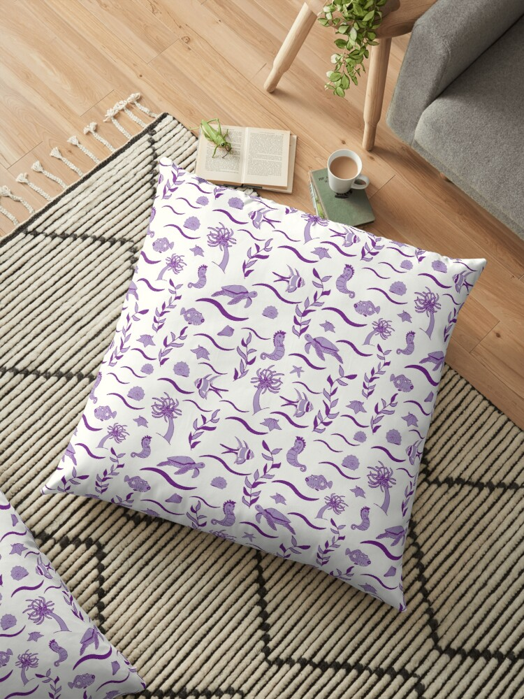 Purple and White Sea Life Pattern Design by Teal Kitty  Craft
