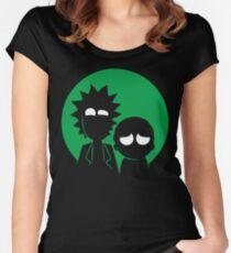 Rick and Morty in Green Women's Fitted Scoop T-Shirt