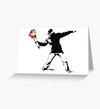Banksy Flower Bomber Recreation Greeting Card