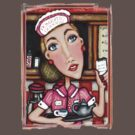 Retro Diner Diva T-Shirt by Jamie Wogan Edwards