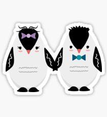Stylish Penguin Couple, Winter Penguin Lovers Sticker