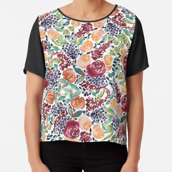 Watercolor Bouquet Hand-Painted Roses Celosia Bilberries Leaves Chiffon Top