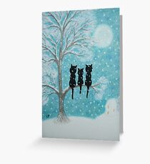 Christmas Cats:  Three Black Cats in the Snow with Moon Greeting Card