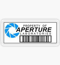 Eigentum von Aperture Labs Transparenter Sticker