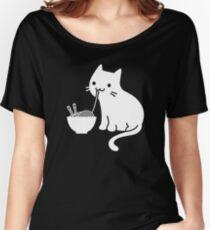 Cute Cat Eating Ramen Women's Relaxed Fit T-Shirt