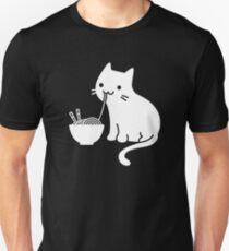 Camiseta unisex Lindo gato comiendo ramen