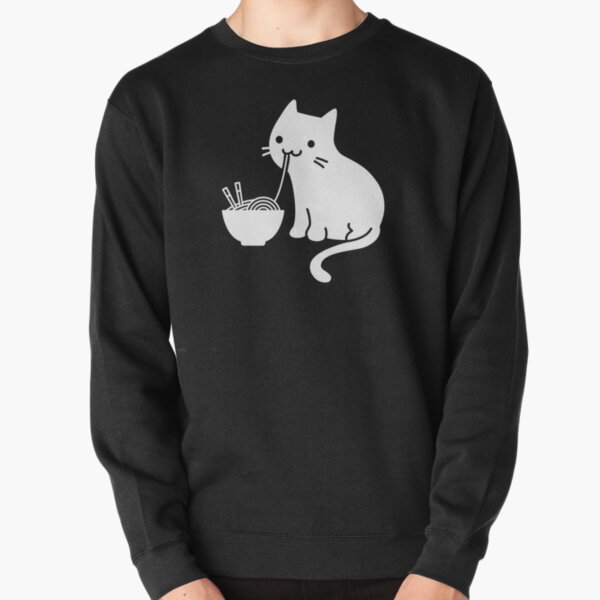 Cute Cat Eating Ramen Pullover Sweatshirt