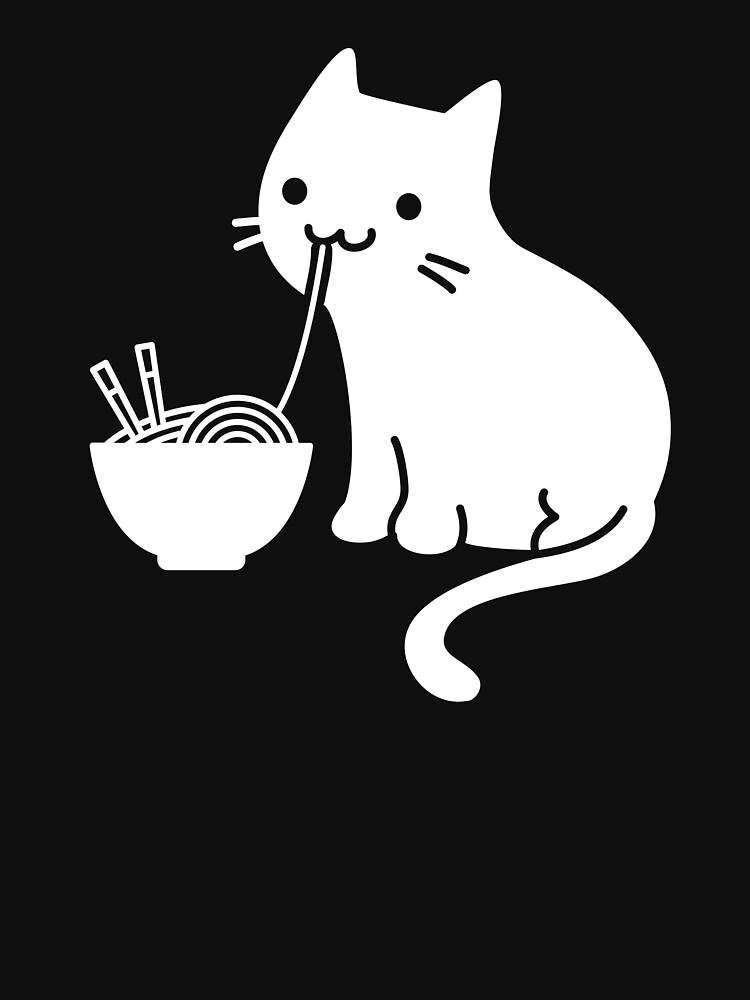 Cute Cat Eating Ramen by ethandirks