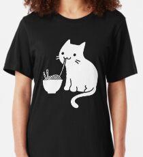 Cute Cat Eating Ramen Slim Fit T-Shirt