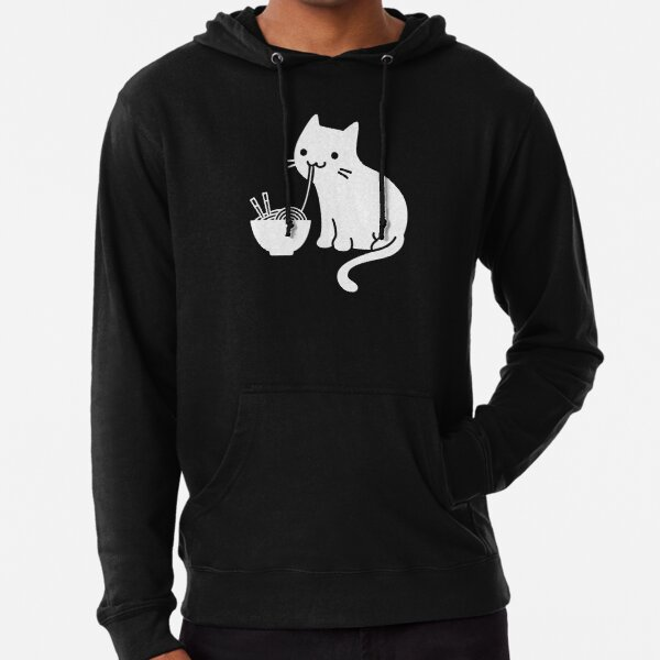 Lindo gato comiendo ramen Sudadera ligera con capucha