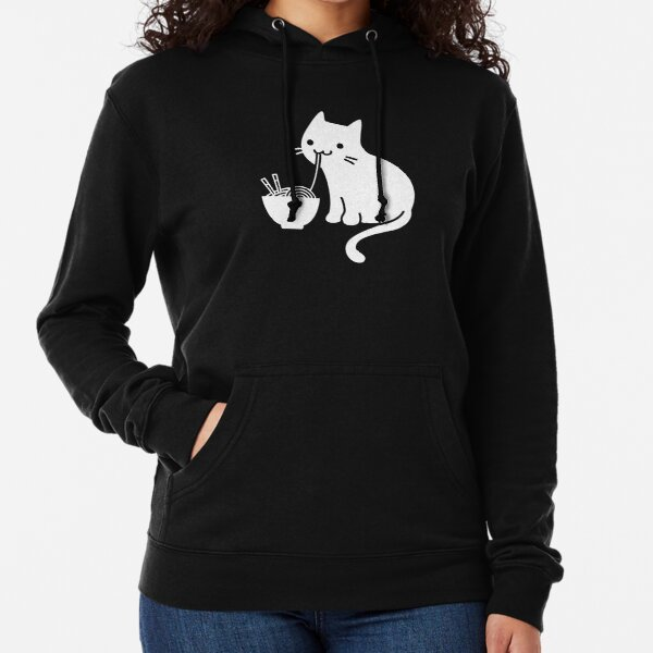 Cute Cat Eating Ramen Lightweight Hoodie