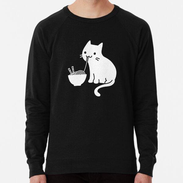 Cute Cat Eating Ramen Lightweight Sweatshirt