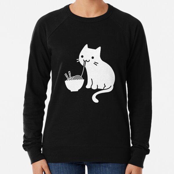Nette Katze, die Ramen isst Leichter Pullover