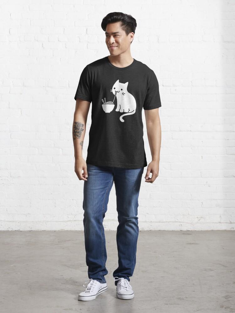 Alternate view of Cute Cat Eating Ramen Essential T-Shirt