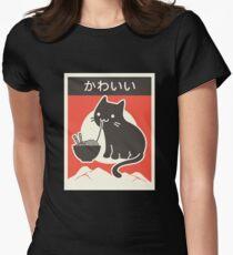 """""""Kawaii"""" Vintage Style japanische Ramen Katze Tailliertes T-Shirt für Frauen"""