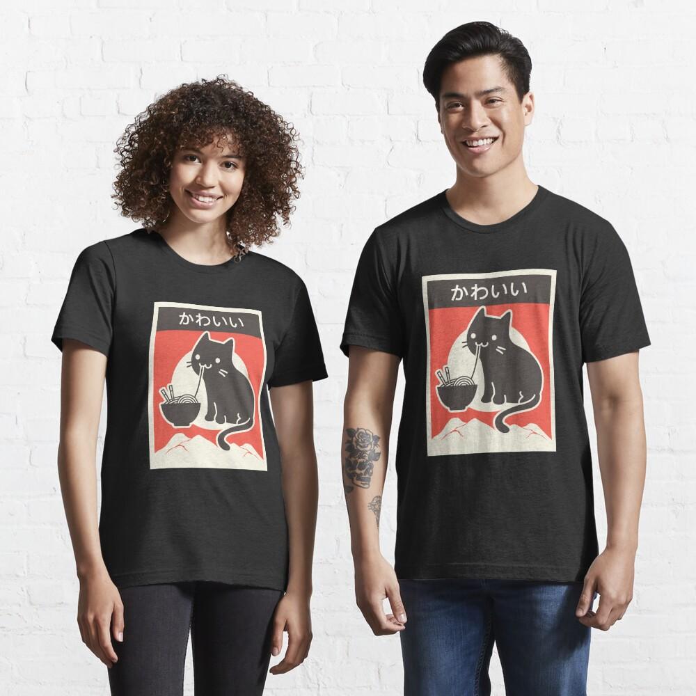 """Kawaii"" Vintage Style Japenese Ramen Cat Essential T-Shirt"