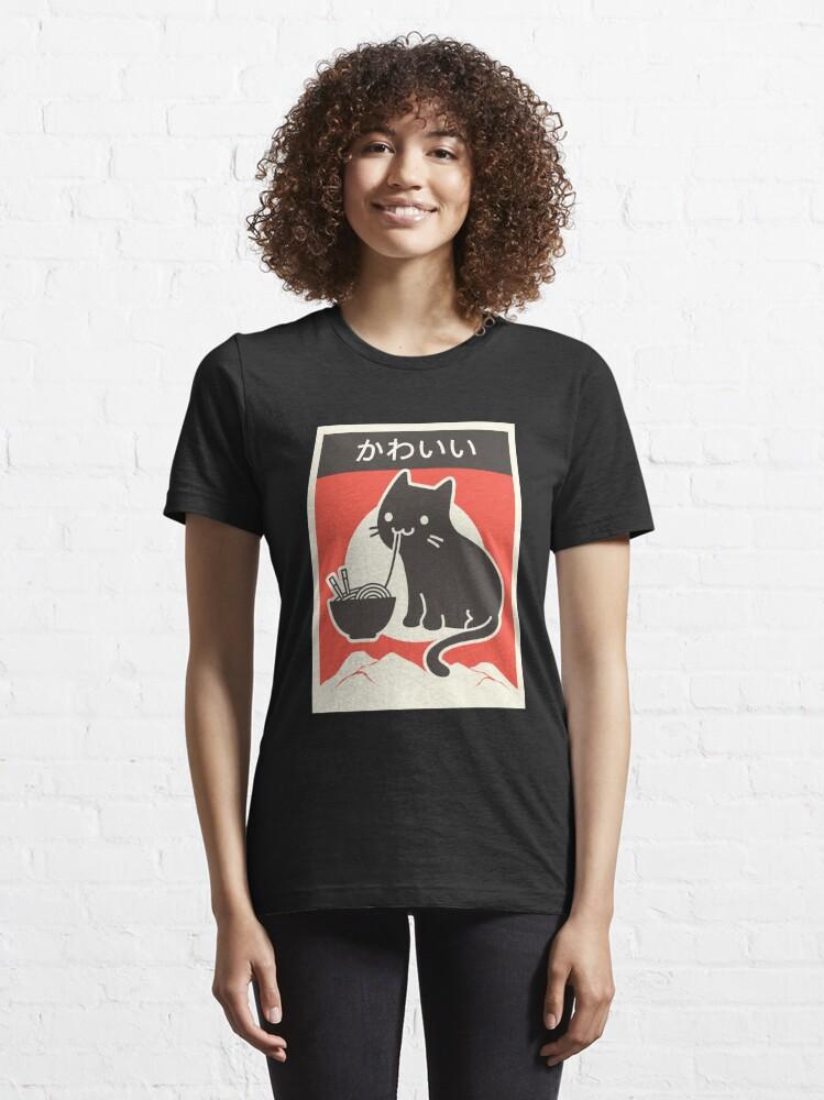 "Alternate view of ""Kawaii"" Vintage Style Japenese Ramen Cat Essential T-Shirt"