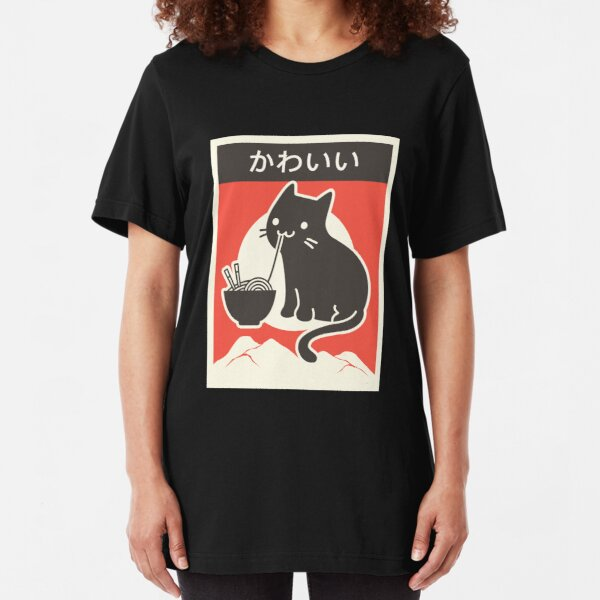 """Kawaii"" Vintage Style Japenese Ramen Cat Slim Fit T-Shirt"