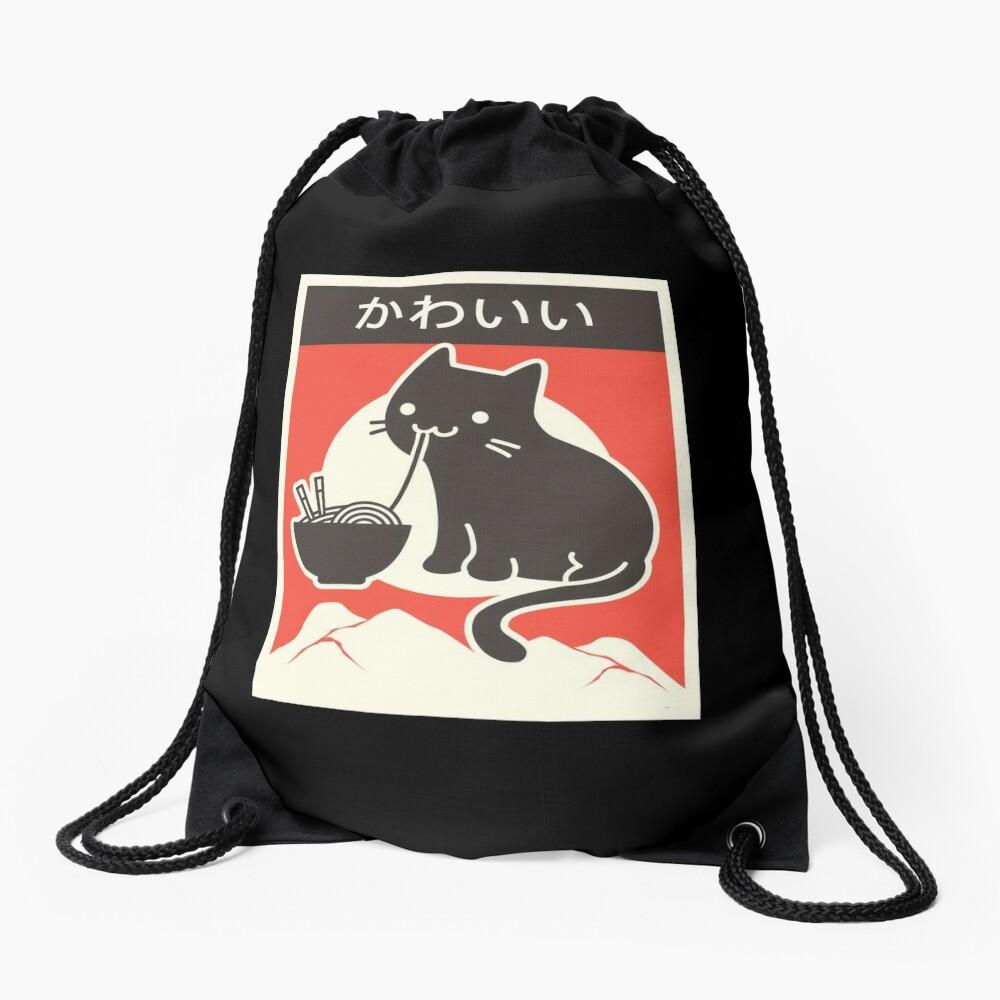 """Kawaii"" Vintage Style Japenese Ramen Cat Drawstring Bag"