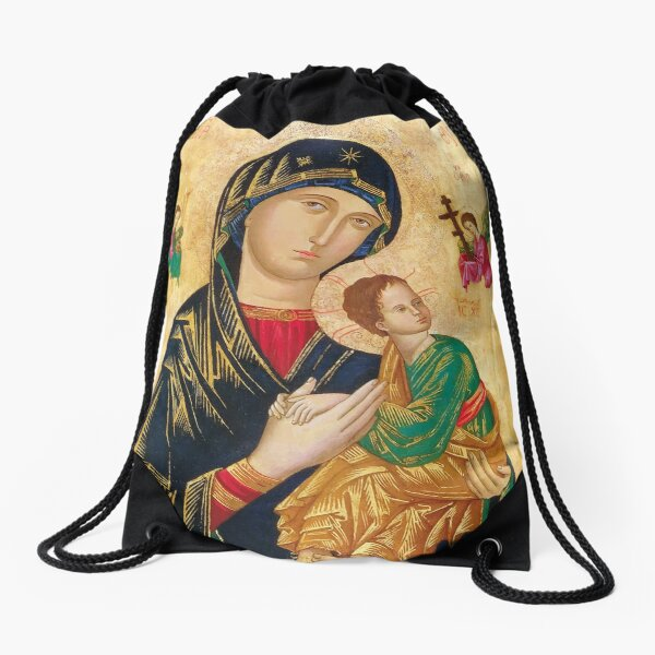 Our Mother of Perpetual Help, icon art Drawstring Bag
