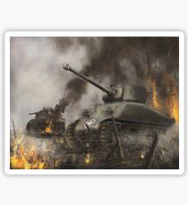 Sherman Tank in Battle  Sticker