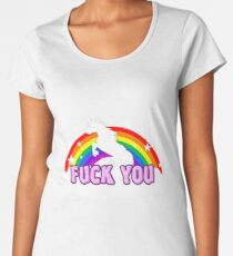 Unicorn Fuck you rainbow Women's Premium T-Shirt