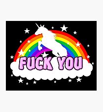 Unicorn Fuck you rainbow Photographic Print