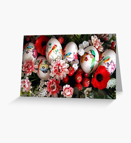 Easter eggs and flowers Greeting Card