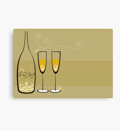 Champagne Bubbles Celebration Canvas Print
